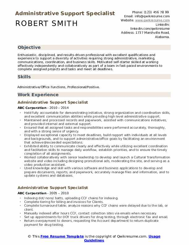 Administrative Support Specialist Resume Format