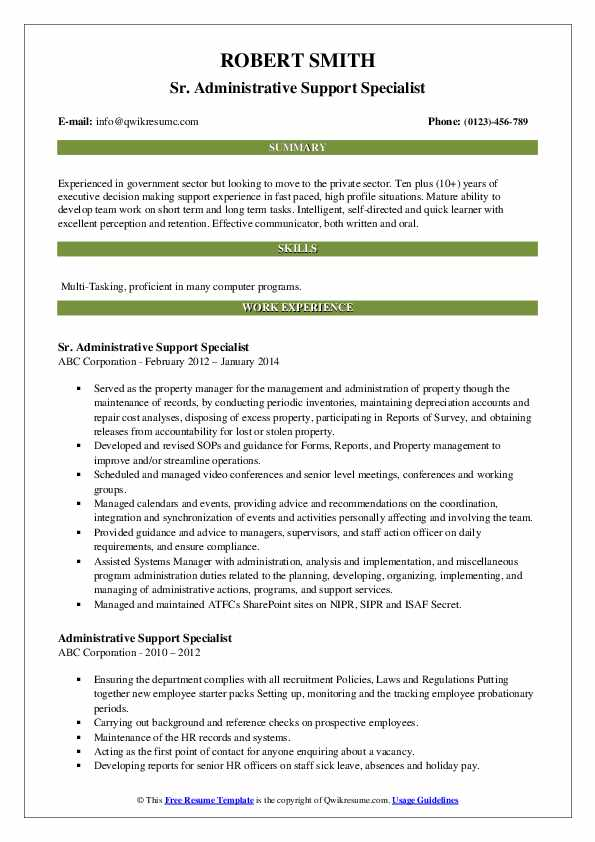 Sr. Administrative Support Specialist Resume Example
