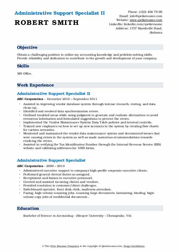 Administrative Support Specialist II Resume Example