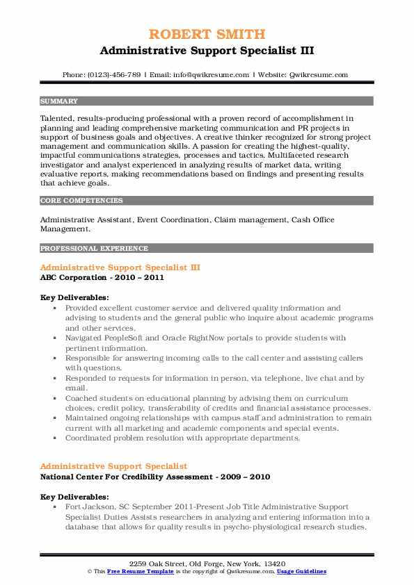 administrative support specialist resume samples  qwikresume