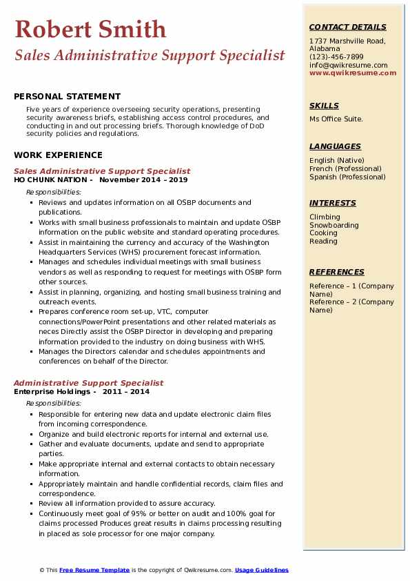 Sales Administrative Support Specialist Resume Sample