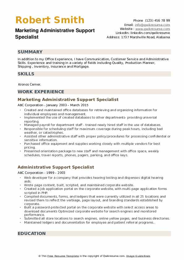 Marketing Administrative Support Specialist Resume Sample