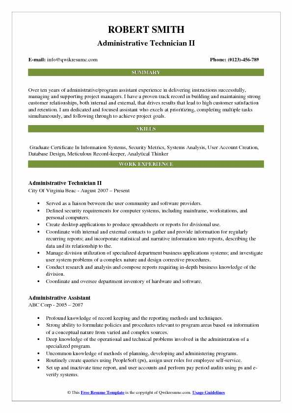 Administrative Technician II Resume Example