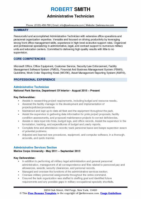 Administrative Technician Resume Example