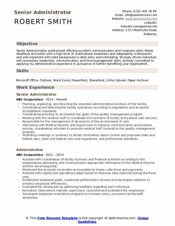 Senior Administrator Resume Format