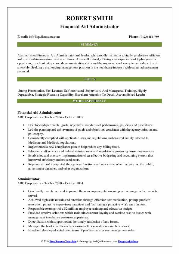 Financial Aid Administrator Resume Template
