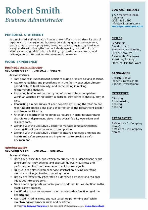 Business Administrator Resume Sample