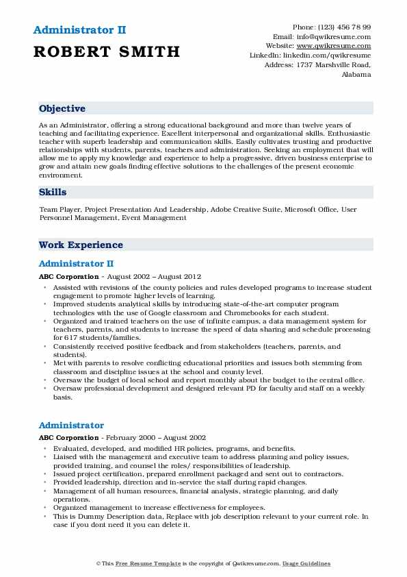 Administrator II Resume Sample