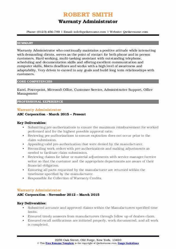 Warranty Administrator Resume Sample