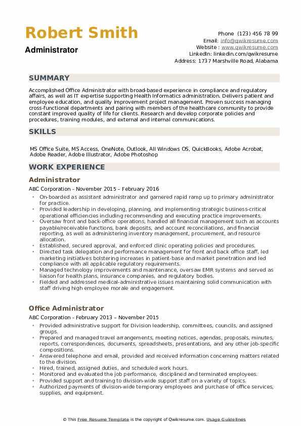 Administrator Resume example