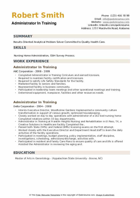 Administrator In Training Resume example