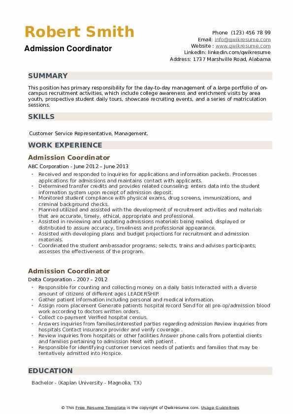Admission Coordinator Resume example