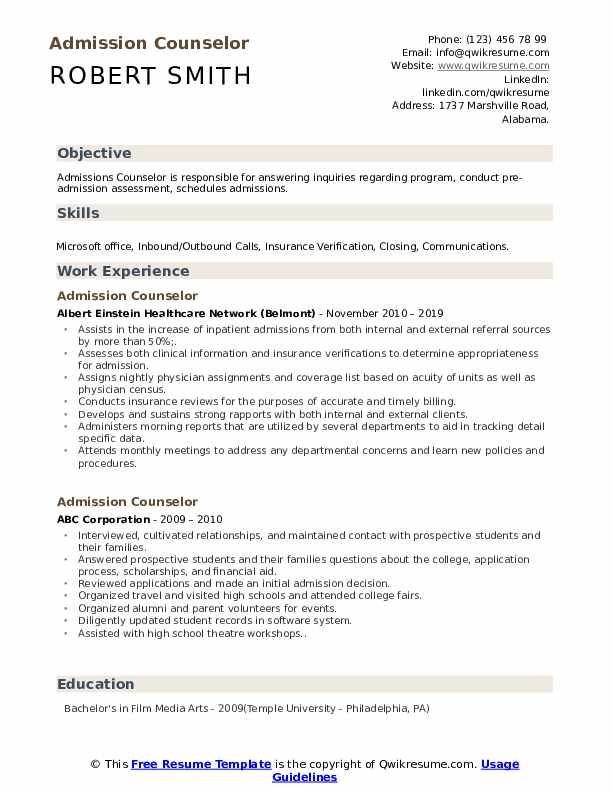 Admission Counselor Resume Samples Qwikresume