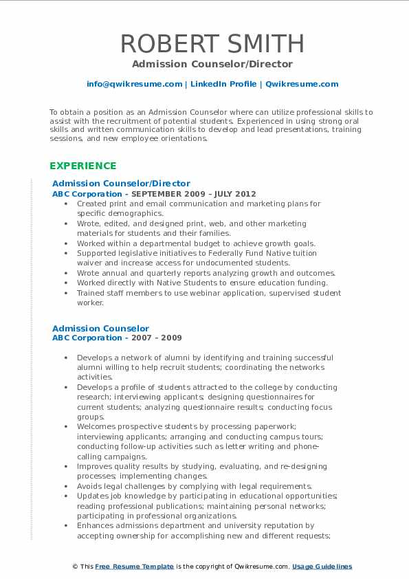 Admission Counselor Resume Examples | JobHero