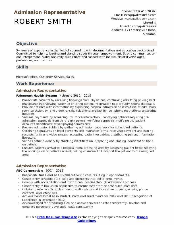 Admission Representative Resume Format