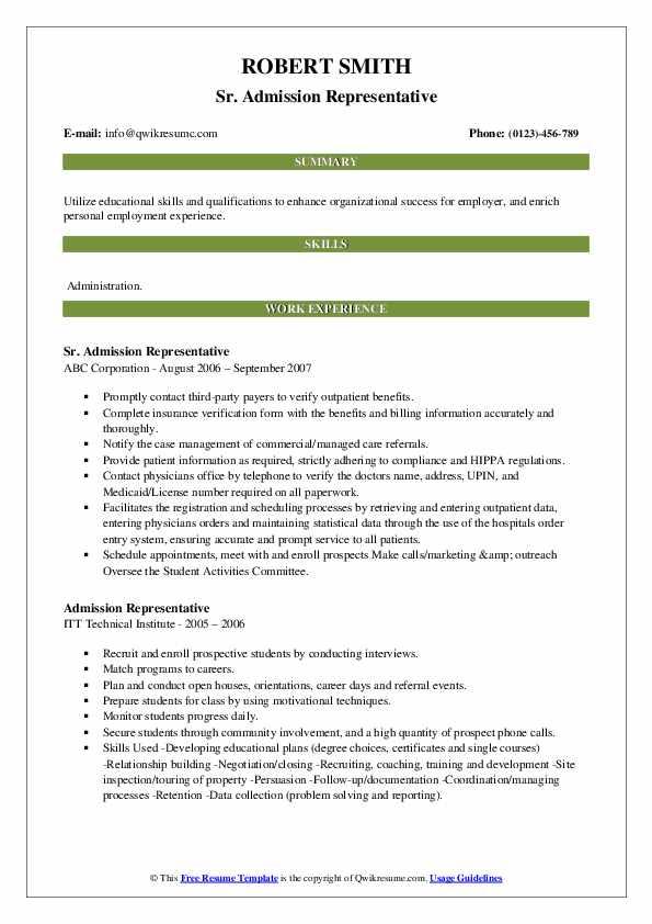 Sr. Admission Representative Resume Example