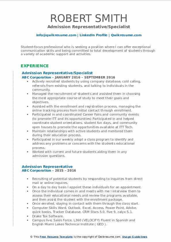 Admission Representative/Specialist Resume Format
