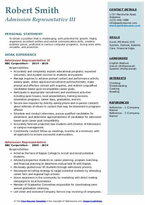 Admission Representative III Resume Example