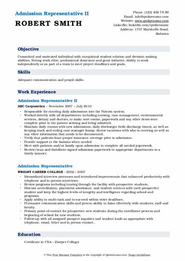 Admission Representative II Resume Sample
