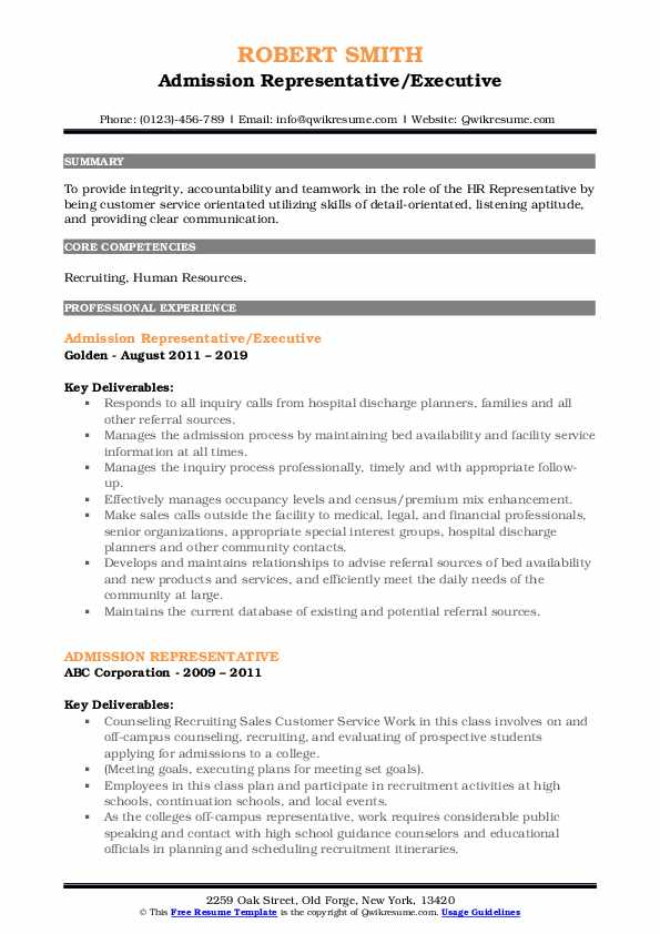 Admission Representative/Executive Resume Model