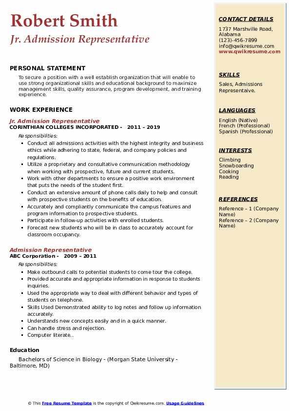 Jr. Admission Representative Resume Example