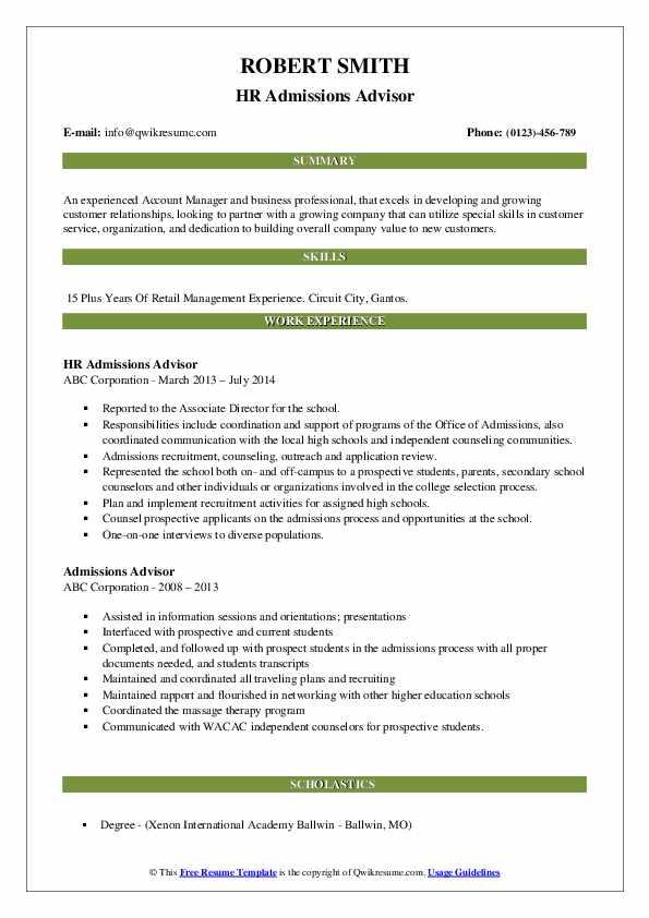 HR Admissions Advisor Resume Sample