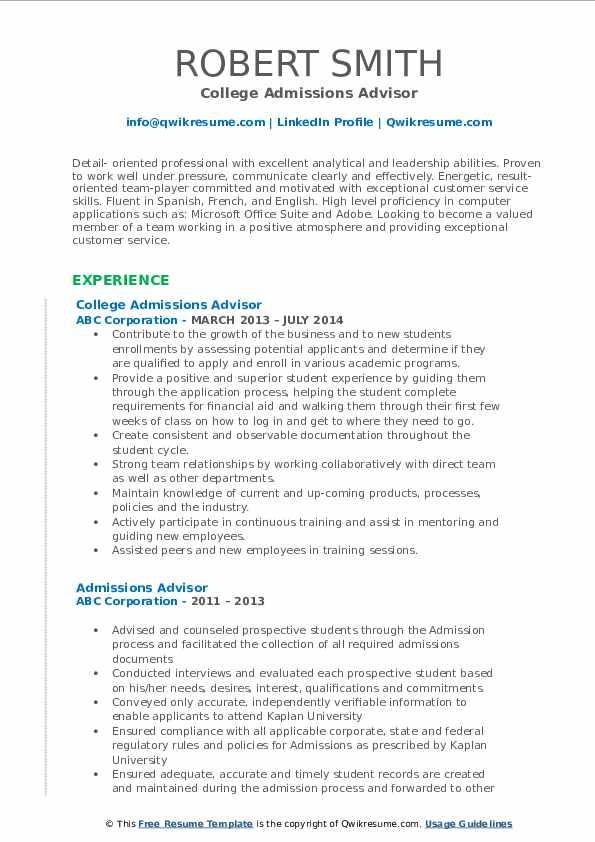College Admissions Advisor Resume Model