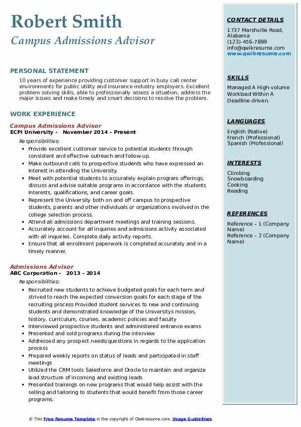 Campus Admissions Advisor Resume Sample