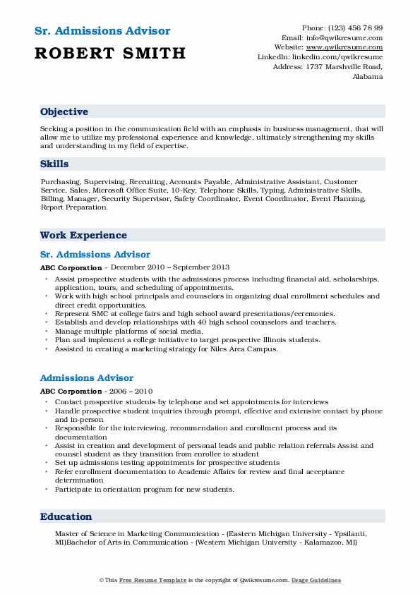 Sr. Admissions Advisor Resume Model