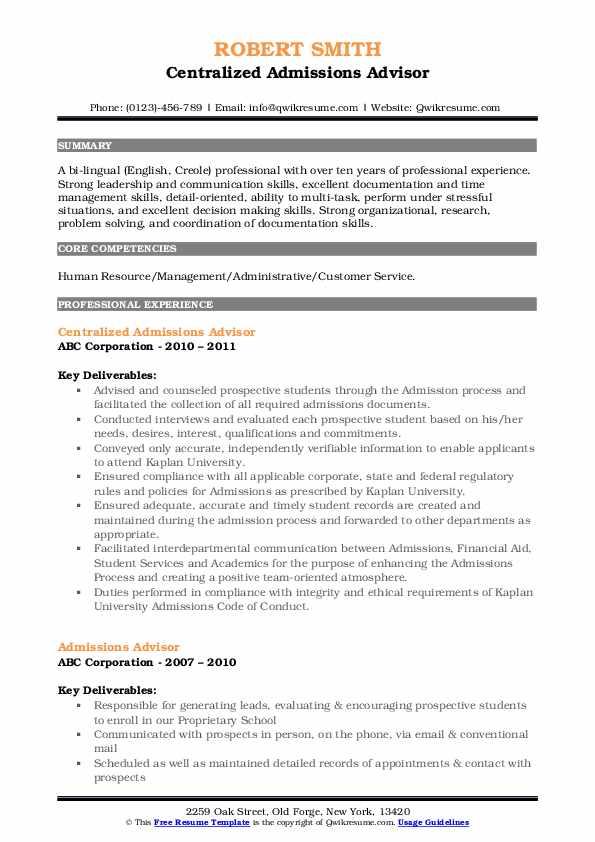 Centralized Admissions Advisor Resume Example