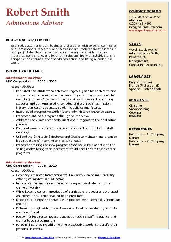 Admissions Advisor Resume Template