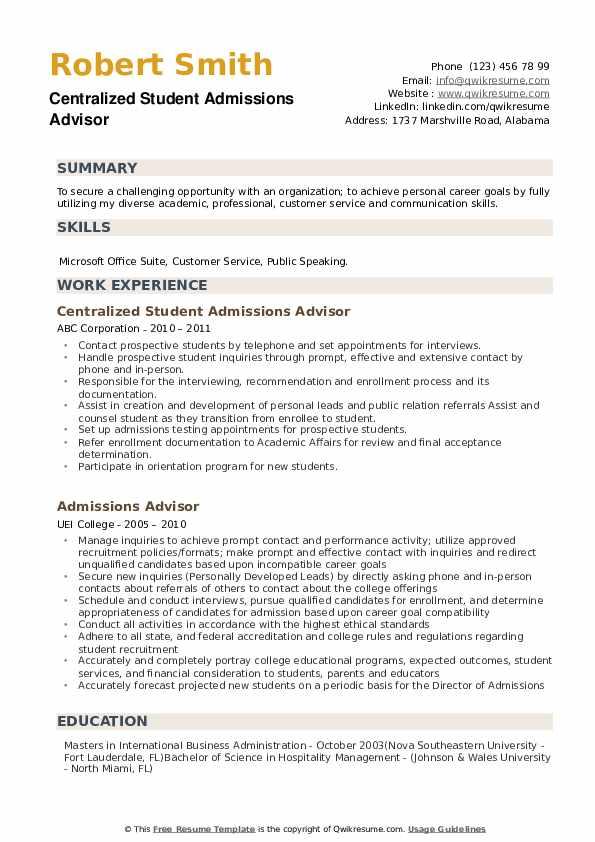 Centralized Student Admissions Advisor Resume Sample