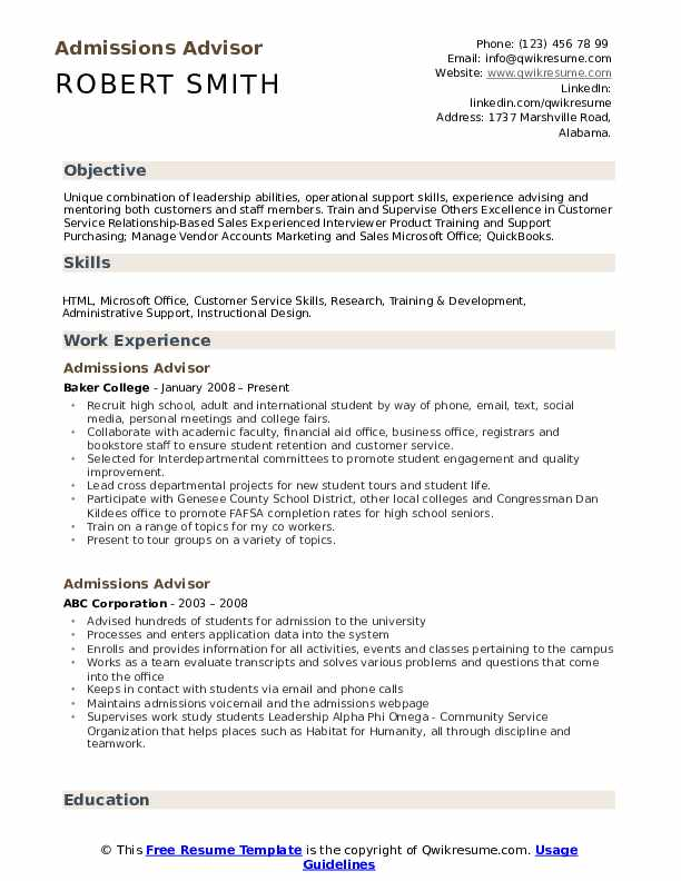 Admissions Advisor Resume Example