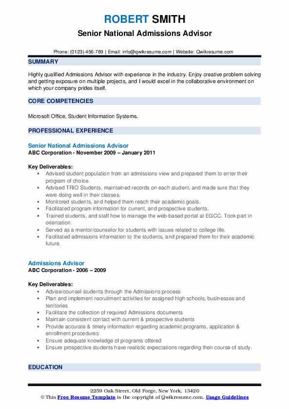 Senior National Admissions Advisor Resume Example