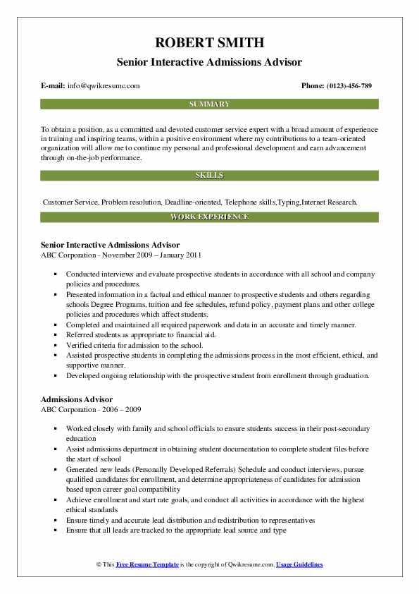 Senior Interactive Admissions Advisor Resume Format