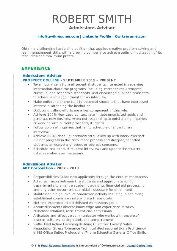 Admissions Advisor Resume Format