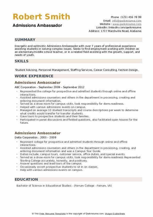 Admissions Ambassador Resume example