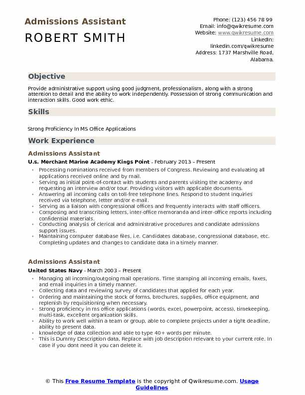 Admissions Assistant Resume Sample