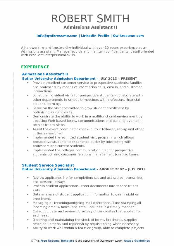 Admissions Assistant II Resume Sample