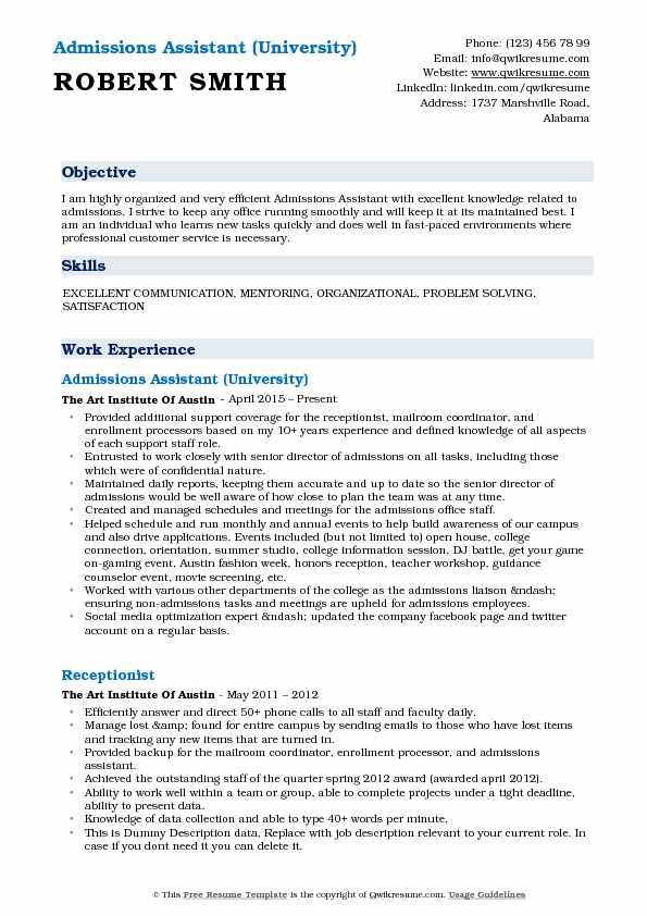 Admissions Assistant (University) Resume Sample
