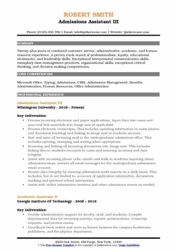 Admissions Assistant III Resume Sample