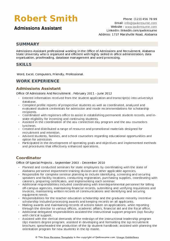 Admissions Assistant Resume Template