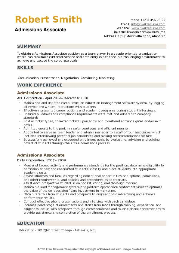 Admissions Associate Resume example