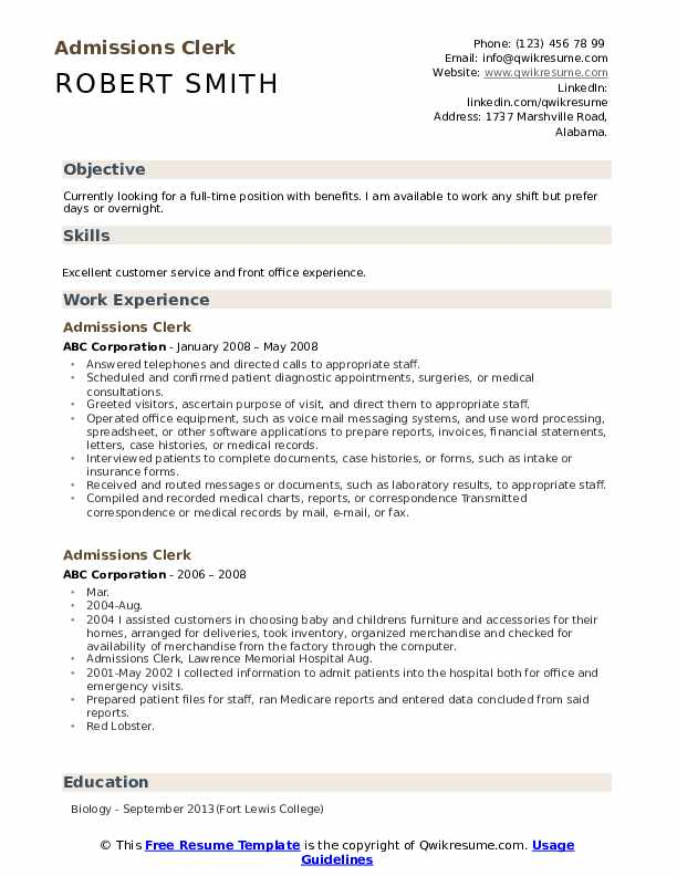 Admissions Clerk Resume Example