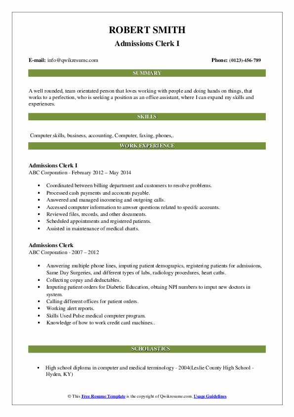Admissions Clerk I Resume Template
