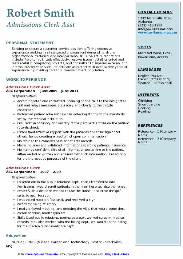 Admissions Clerk Asst Resume Example