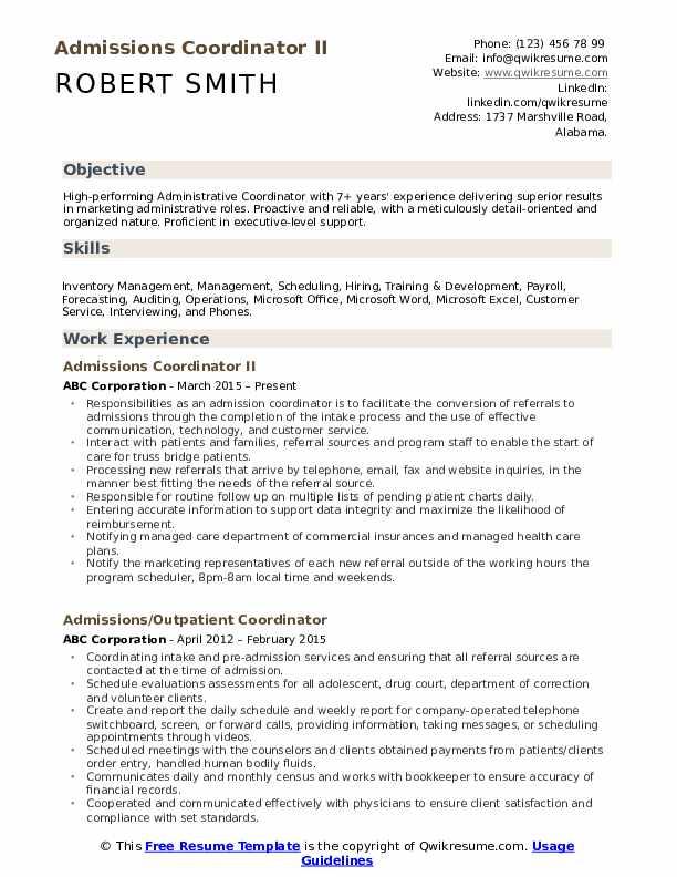 Admissions Coordinator II Resume Sample