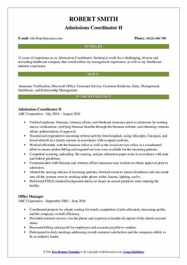 Admissions Coordinator II Resume Template