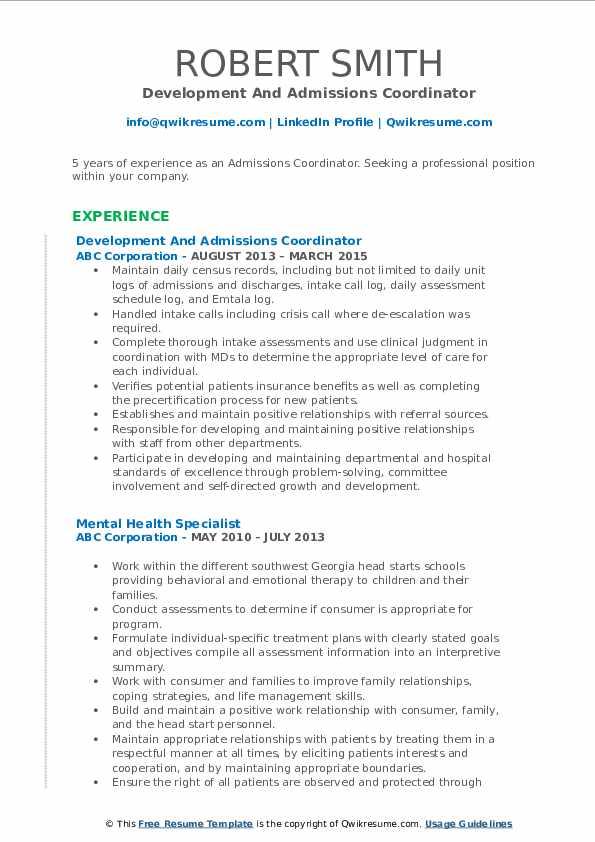 Development And Admissions Coordinator Resume Sample