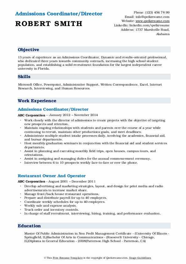 Admissions Coordinator/Director Resume Format